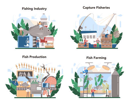 Industrial fishing concept set. Capture fisheries, seafood production