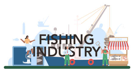 Industrial fishing typographic header. Capture fisheries, seafood production