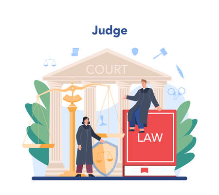 Judge concept. Court worker stand for justice and law. Judge in traditional