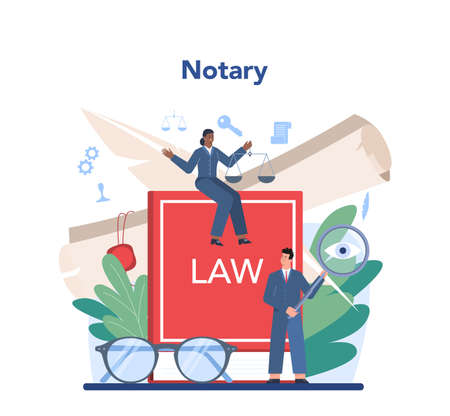 Notary service concept. Professional lawyer signing and legalizing