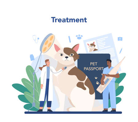 Pet veterinarian concept. Veterinary doctor checking and treating Ilustrace
