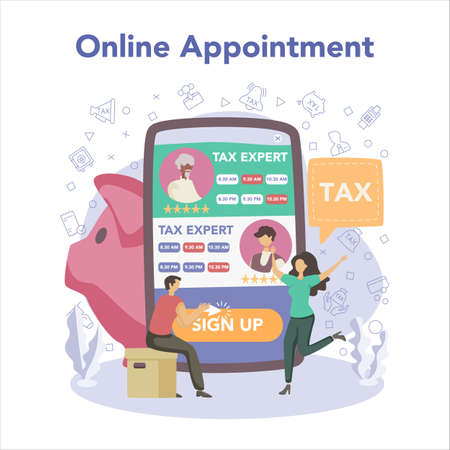 Tax consultant online service or platform. Idea of accounting help