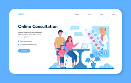 Family doctor and general healthcare web banner or landing page Ilustracja