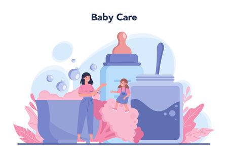Babysitter service or nanny agency concept. In-home babysitter