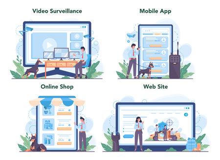 Security guard online service or platform set. Surveillance and ptrotection