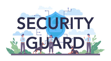 Security guard typographic header. Surveillance and ptrotection