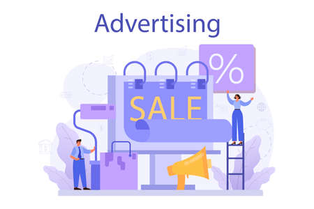 Advertsing concept. Commercial advertisement and communication with customer