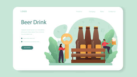 Beer web banner or landing page. Glass bottle and vintage mug Ilustrace
