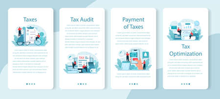 Taxes payment mobile application banner set. Idea of business accounting