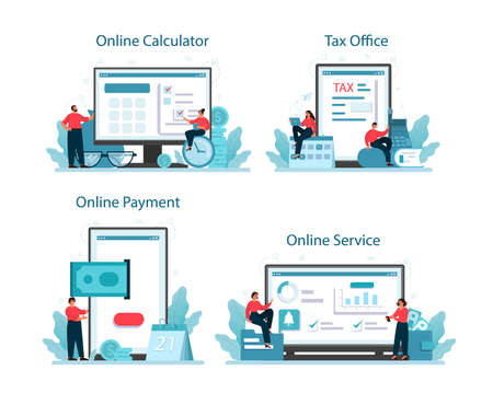 Taxes payment online service or platform set. Idea of business accounting Vettoriali