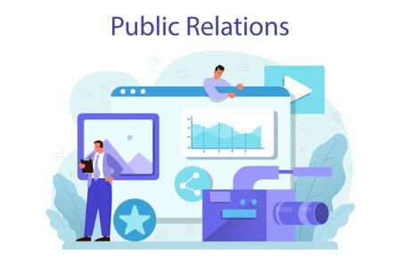 Public relations concept. Idea of brand advertising, building relationships Vektoros illusztráció