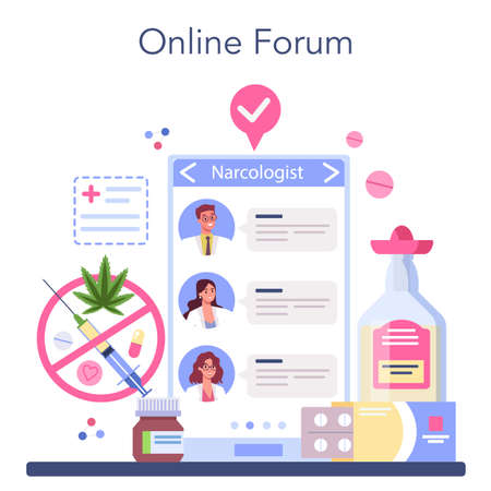 Narcologist online service or platform. Idea of medical treatment Illustration