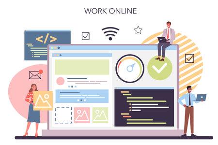 Website technical support online service or platform. Idea of web Illustration