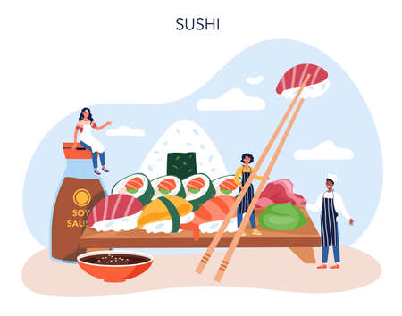 Sushi chef concept. Restaurant chef cooking rolls and sushi.