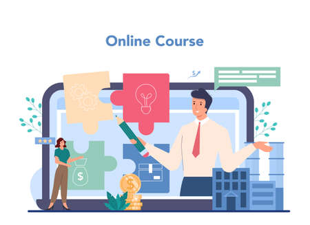 Business online service or platform. Idea of strategy and deal Illustration