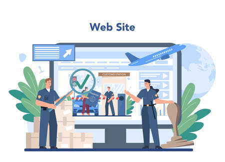 Customs officer online service or platform. Passport control at the airport.