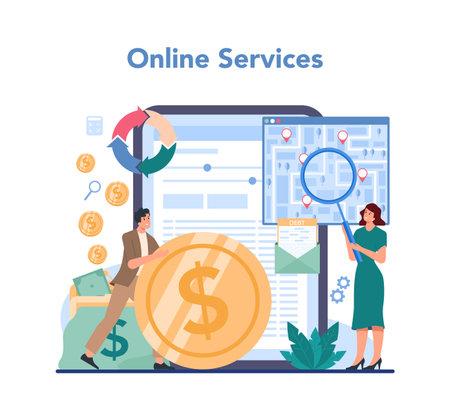 Debt collector online service or platform. Pursuing payment Illustration