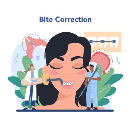 Dentist concept. Dental doctor in uniform treating human