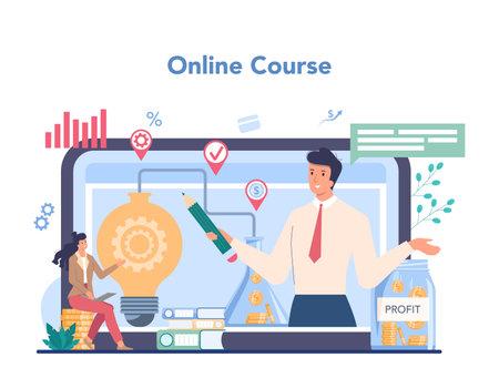Enterpreneur online service or platform. Idea of business Illustration