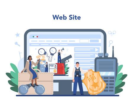 FBI agent online service or platform. Police officer Illustration