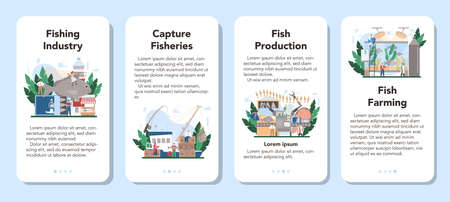 Industrial fishing mobile application banner set. Capture fisheries, Illustration