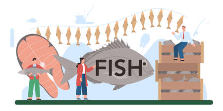 Fish typographic header. Capture fisheries, seafood production and farming.
