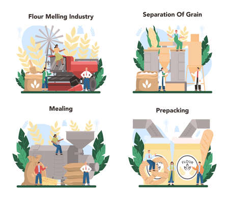 Flour melling industry set. Modern grain processing industrial factory. Product for baking and bread making. Sift product for cooking production. Isolated flat illustration