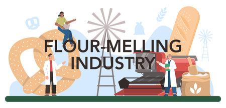 Flour melling industry typographic header. Modern grain processing