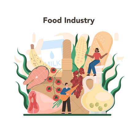 Food industry sector of the economy. Light manufacturing Illustration