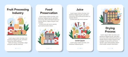 Fruit farming industry mobile application banner set. Idea of agriculture Illustration