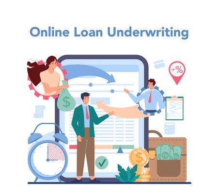 Loan manager online service or platform. Individual and business Illustration