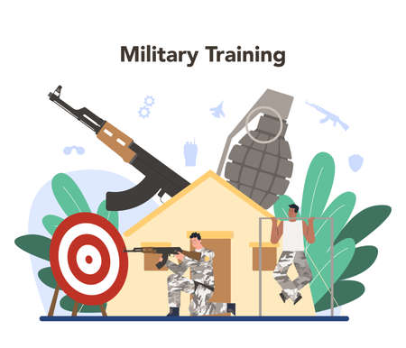 Soldier concept. Millitary force employee in camouflage with a weapon. Illustration