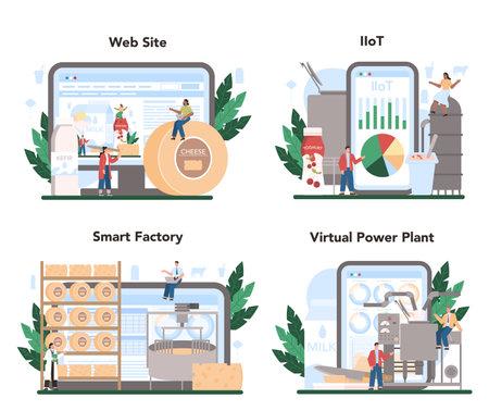 Dairy production industry online service or platform set. Dairy natural Illustration