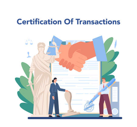 Certification of transaction. Notary signing and legalizing paper