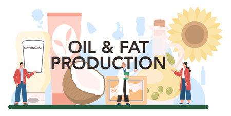 Oil production typographic header. Glass bottle of vegatable oil: cocoa,