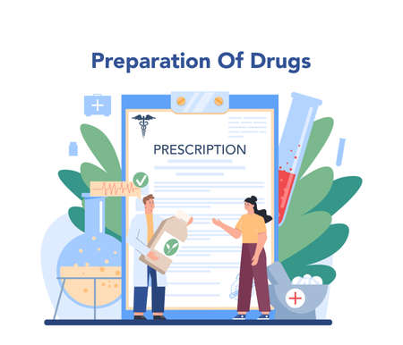 Pharmacy concept. Pharmacist selling drugs in bottle and