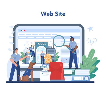 Police officer online service or platform. Detective making investigation