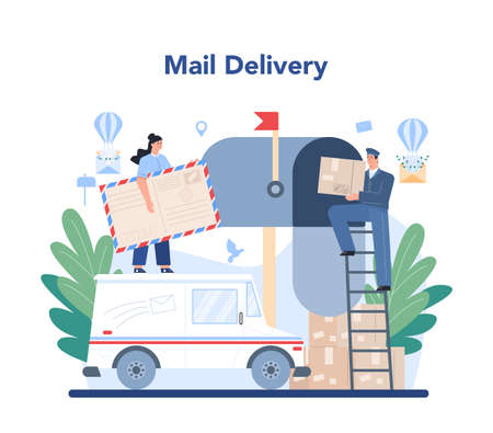 Postman profession. Post office staff providing mail service, Illustration
