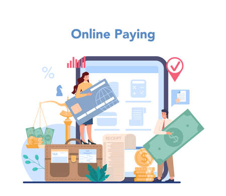 Tax inspector online service or platform. Idea of accounting Illustration