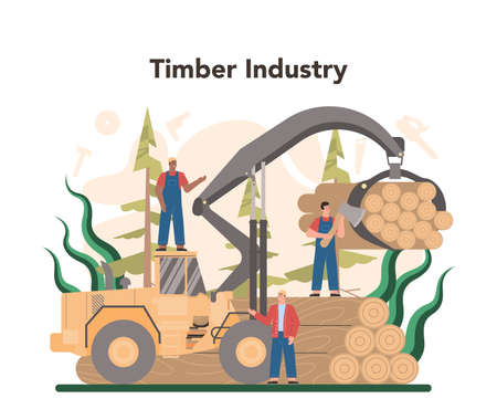 Wood industry and paper production concept. Logging and woodworking Illustration