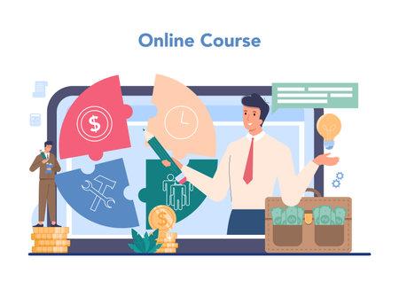Business top management online service or platform. Successful Illustration