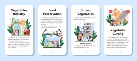 Vegetables farming industry mobile application banner set. Idea of agriculture Illustration