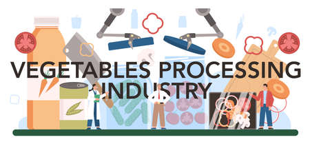 Vegetables processing industry typographic header. Idea of agriculture