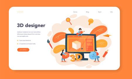Designer 3D modeling web banner or landing page. Digital drawing