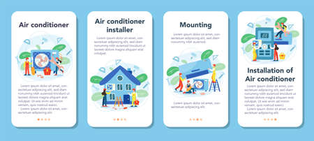 Air conditioning repair and mounting service mobile application banner set