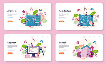 Architecture web banner or landing page set. Idea of building project