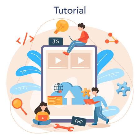 Back end development online service or platform. Software