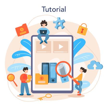 Data base administrator online service or platform. IT Illustration