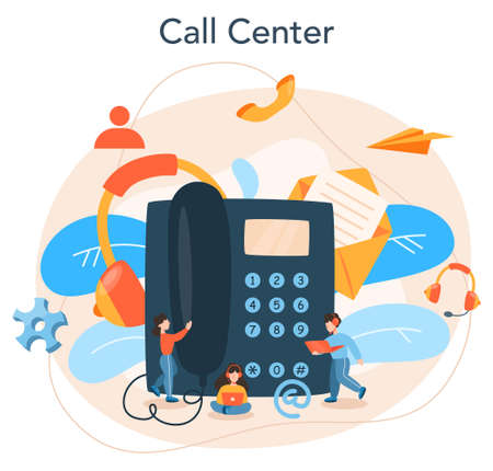 Call center or technical support concept. Idea of customer service Illustration