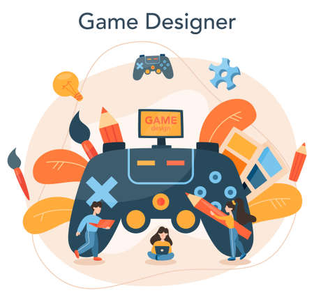 Game designer concept. Creative process of a computer video game building